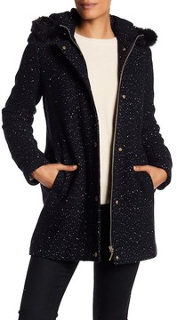 Ellen Tracy Speckle Wool Blend Faux Fur Trim Hooded Coat
