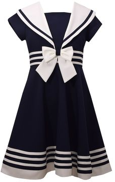 Bonnie Jean Girls 7-16 Nautical Collar Poplin Dress