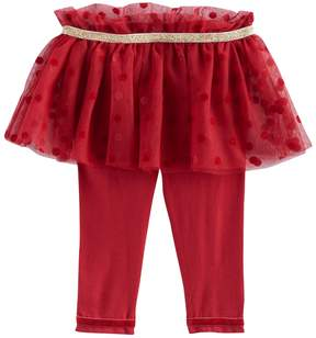 Baby Starters Baby Girl Glitter Polka-Dot Flocked Tutu Leggings