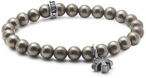 King Baby Studio Men's Pyrite Rivet Cross Beaded Bracelet