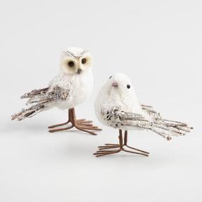 World Market Natural Fiber Icy Bird and Owl Set of 2