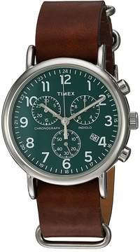 Timex Weekender Chrono Oversize Leather Slip-Thru Strap Watches