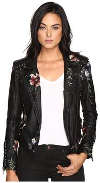 Blank NYC Embroidered Floral Detail Studded Moto Jacket in As You Wish Women's Coat
