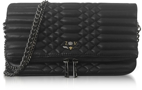 Zadig & Voltaire Black Quilted Leather Foldable Rock Mat Clutch