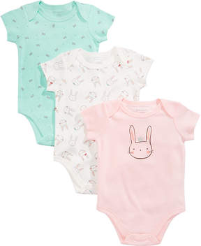 First Impressions 3-Pk. Bunnies & Bows Cotton Bodysuits, Baby Girls (0-24 months), Created for Macy's