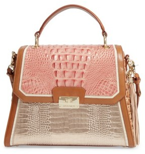 Brahmin Brinley Embossed Leather Top Handle Satchel - Pink