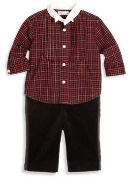 Ralph Lauren Baby's Two-Piece Plaid Tuxedo Shirt & Velvet Pants Set