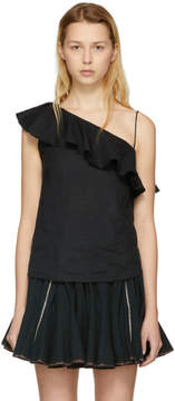 Etoile Isabel Marant Black Thom Single-Shoulder Tank Top