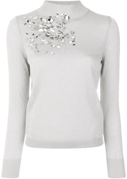 DELPOZO sequins applique roll neck top