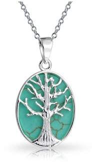 Celtic Bling Jewelry Tree Of Life Synthetic Turquoise Pendant Sterling Silver Necklace 18 Inches.