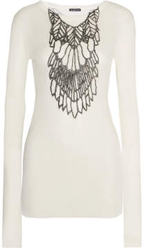 Ann Demeulemeester Metallic Printed Ribbed Jersey Top - White