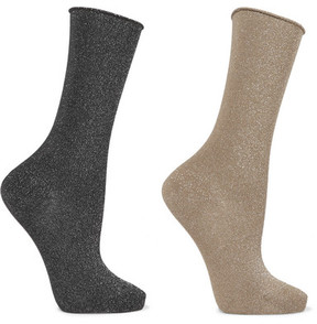 Falke Set Of Two Metallic Cotton-blend Socks - Navy
