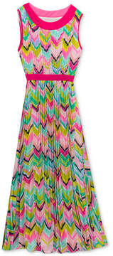 Rare Editions Chevron-Print Pleated Maxi Dress, Big Girls
