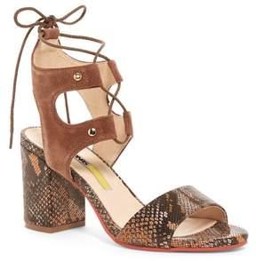 Manas Design Micene Embossed Block Heel Sandal
