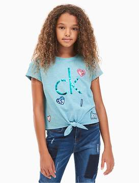 Calvin Klein Jeans Girls Patch Tie-Front T-Shirt