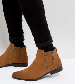 Asos Wide Fit Chelsea Boots With Zip Detail In Tan Faux Suede