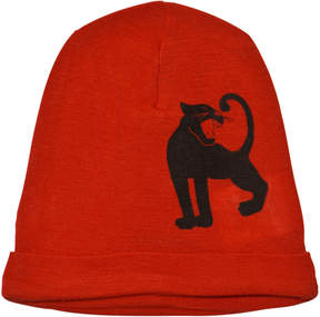 Mini Rodini Red Panther Print Wool Beanie