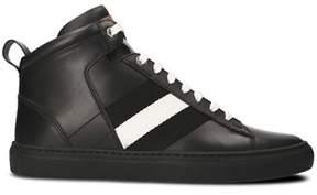 Bally Men's Black Leather Hi Top Sneakers.