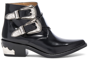 Toga Pulla Polished Leather Booties in Black.