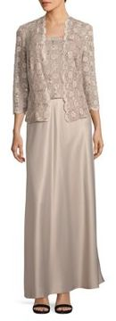 Alex Evenings Lace-Blouson Gown with Matching Lace Cardigan