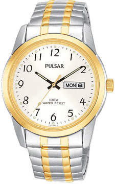 Pulsar Mens Two-Tone Stainless Steel Expansion Bracelet Watch PJ6052