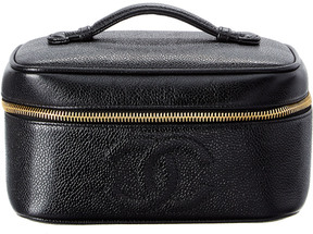 Chanel Black Caviar Leather Wide Vanity Case