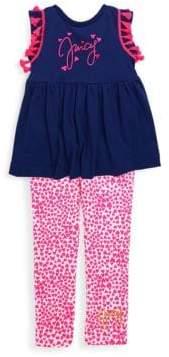Juicy Couture Little Girl's Tassle Trim Top & Heart Leggings Set