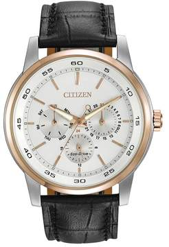 Citizen Men's Eco-Drive Two-Tone Black Leather Strap Watch