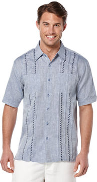 Cubavera Short Sleeve 100% Linen 2 Pocket Tuck With Embroidery