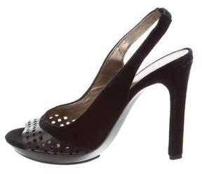Diane von Furstenberg Perforated Peep-Toe Slingbacks
