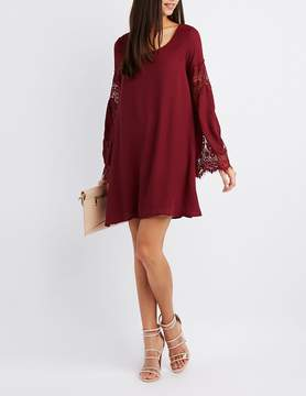 Charlotte Russe Lace-Inset Bell Sleeve Shift Dress