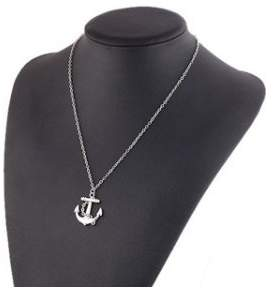 Alpha A A Trendy Silver Anchor Women's Fashion Accessory Necklace 18