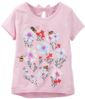 Osh Kosh Toddler Girl Metallic Embroidered Graphic Tee