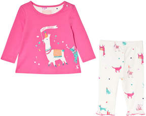 Joules Pink and Cream Llama Applique Long Sleeve T-Shirt Printed Leggings Set