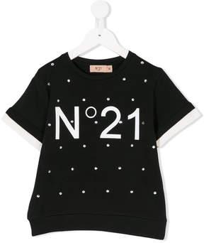 No.21 Kids crystal embellished logo short sleeve sweatshirt