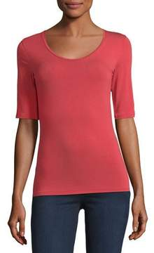 Neiman Marcus Majestic Paris for Half-Sleeve Soft-Touch Top
