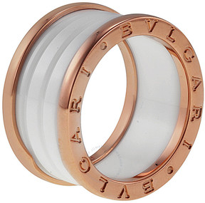 Bvlgari B.Zero1 Four Band 18 kt Rose Gold and White Ceramic Ladies Ring - Size 7.75
