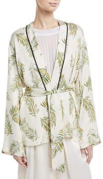 Giada Forte Desert Leaf-Print Satin Jacket