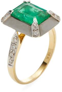 Amrapali Women's Emerald Square Cocktail Ring