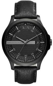 Armani Exchange Textured Leather Strap Watch