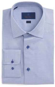 David Donahue Men's Big & Tall Trim Fit Check Dress Shirt