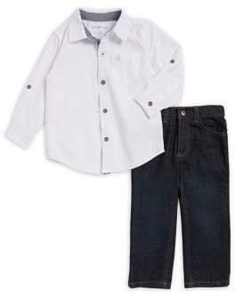 Calvin Klein Jeans Little Boy's Button Down Shirt and Pant Two-Piece Set