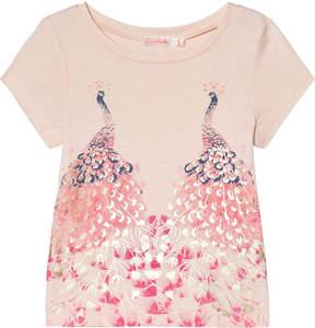 Billieblush Pale Pink Peacock Foil Print T-Shirt