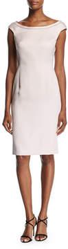 Escada Duchesse Satin Boat-Neck Cap-Sleeve Sheath Dress