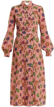 Stella Jean Graphic-print pleat-front silk shirtdress