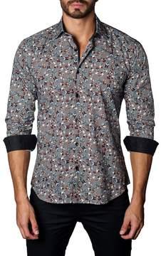 Jared Lang Skull Print Trim Fit Woven Shirt