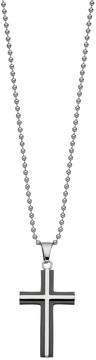 Lynx Men's Black Two Tone Stainless Steel Cross Pendant Necklace