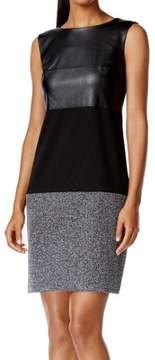 Calvin Klein Women's Faux Leather Top Knit Bottom Sheath Dress
