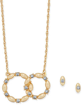 Charter Club Gold-Tone Crystal Interlocking Rings Pendant Necklace & Stud Earrings Set, Created for Macy's