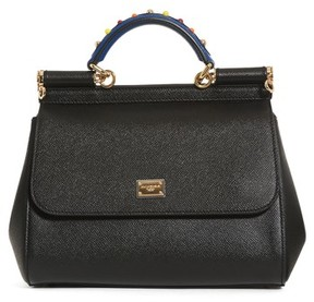 Dolce & Gabbana Small Miss Sicily Embellished Top Handle Leather Satchel - Black - BLACK - STYLE